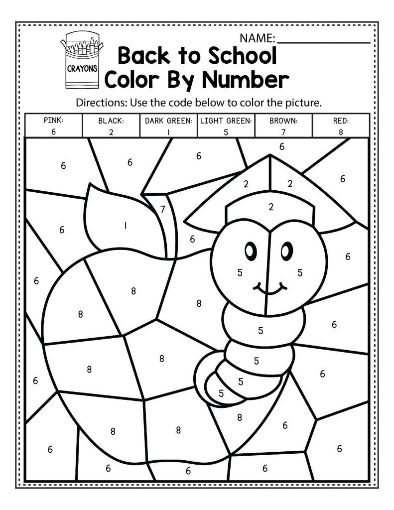 Color By Number Worksheets For Kindergarten Easy