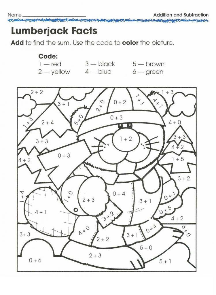 Color By Number Worksheets For Kindergarten Math