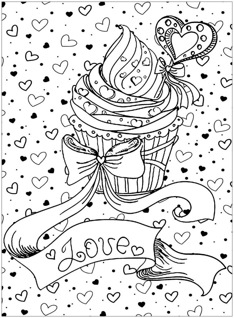 Cupcake Coloring Pages Love