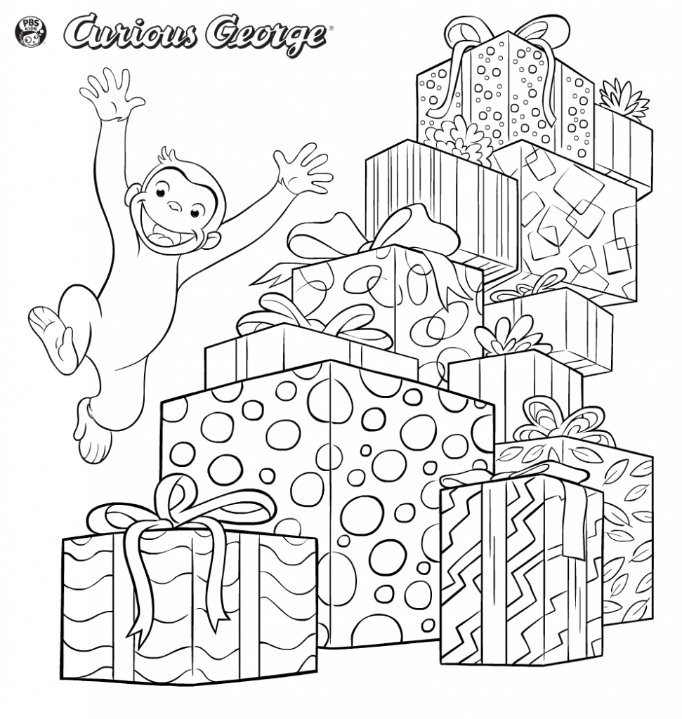 Curious George Coloring Pages Christmas