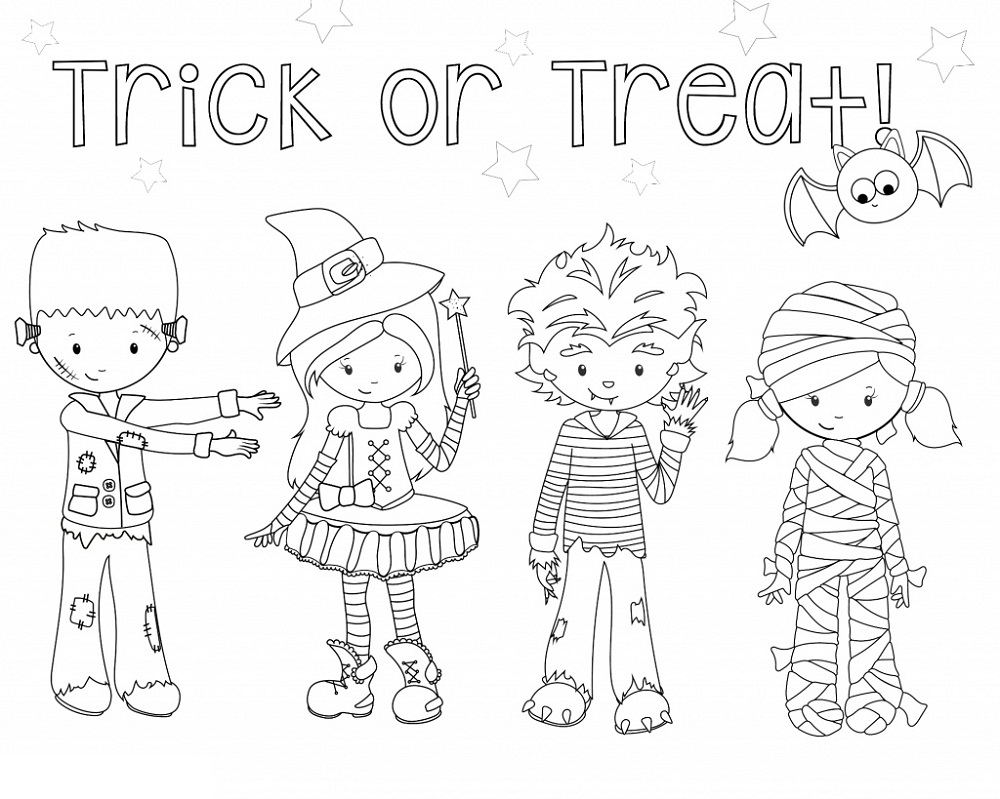 Cute Halloween Coloring Pages Trick Or Treat