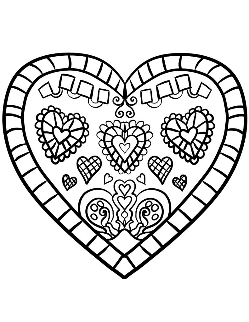 Decorated Heart Coloring Pages