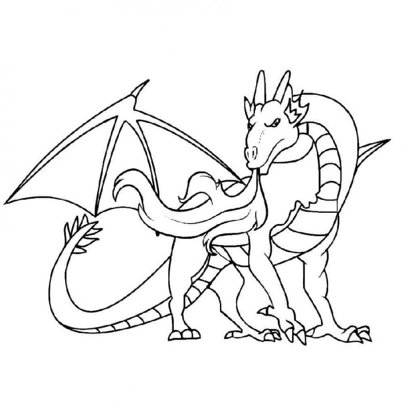 Dragon Coloring Pages With Fire