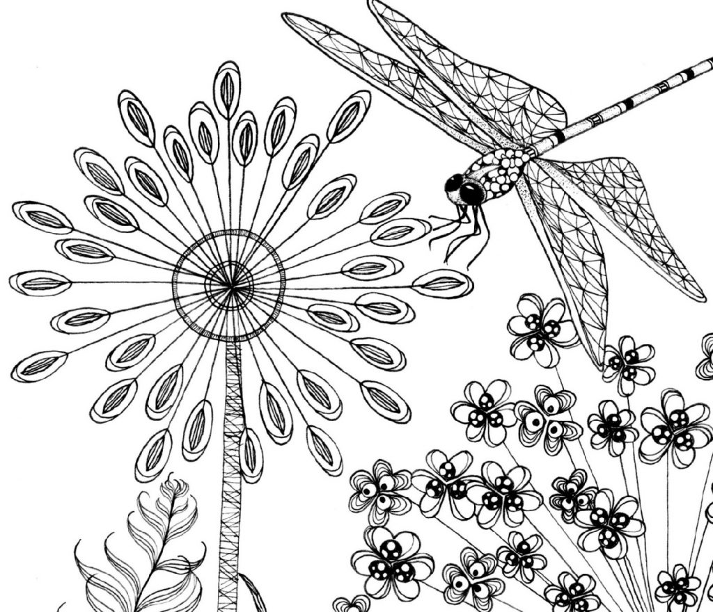 Dragonfly Coloring Page Flower