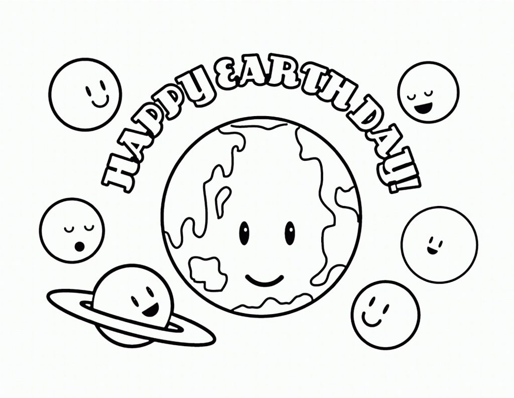 Earth Day Coloring Pages Simple