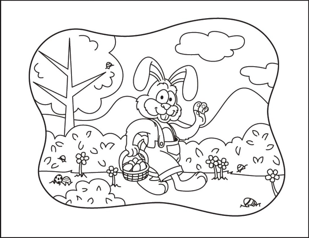 Easter Basket Coloring Pages Cartoon