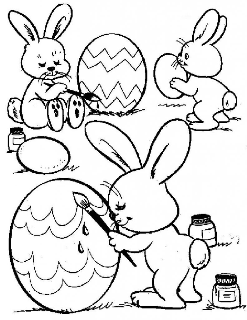 Easter Bunny Coloring Pages Cute