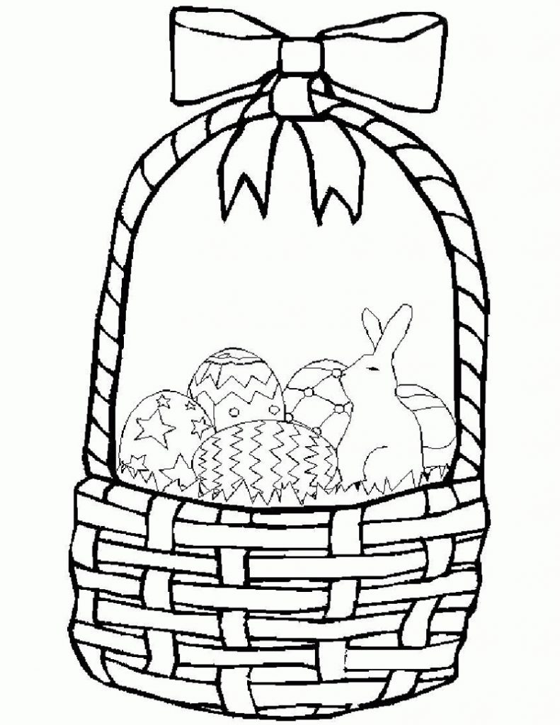 Easter Bunny Coloring Pages with Basket