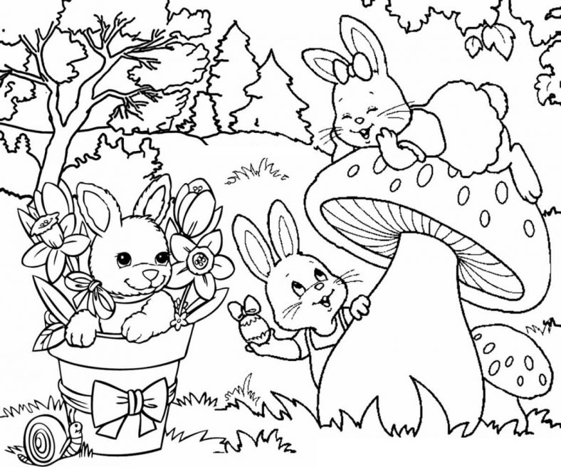 Easter Bunny Pictures To Colour Garden