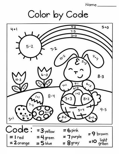 Easter Color By Number For Kids
