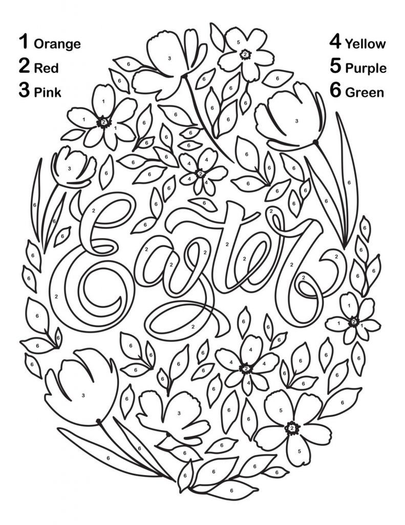 Easter Color By Number Printable Flower