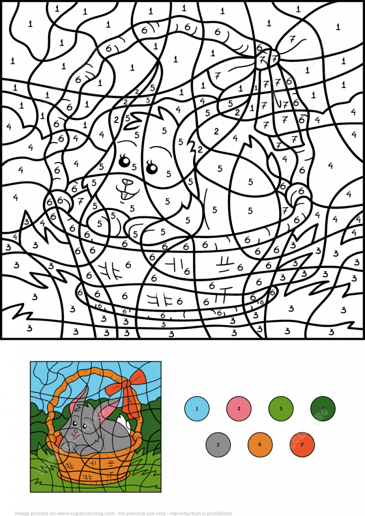 Easter Color By Number Printable Rabbit