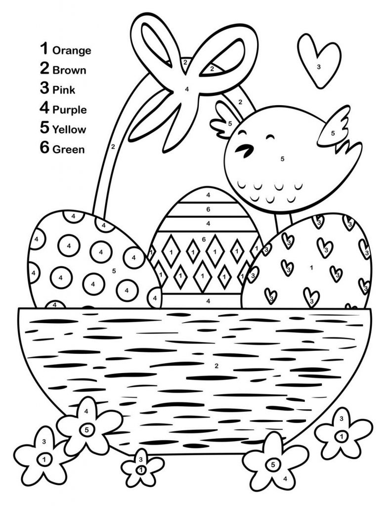 Easter Color By Number To Print