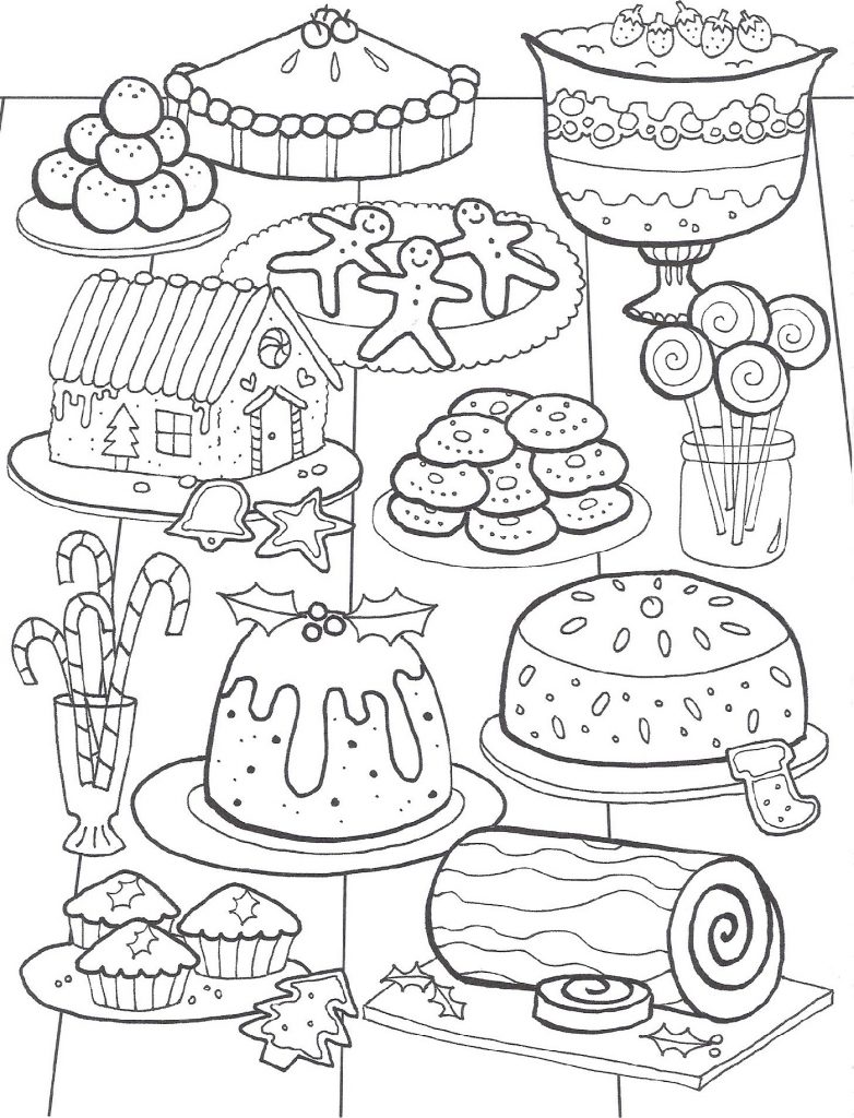 Easy Christmas Coloring Pages Foods