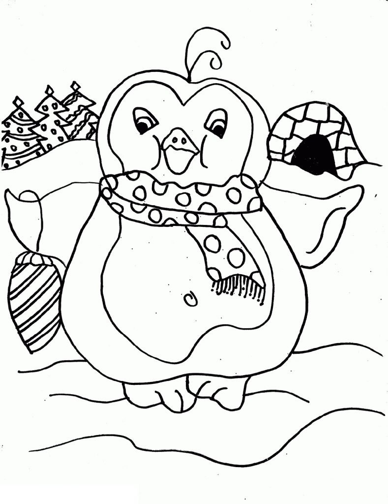 Easy Christmas Coloring Pages Penguin