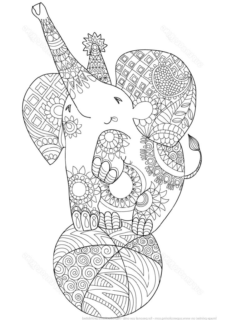 Elephant Coloring Pages Zentangle