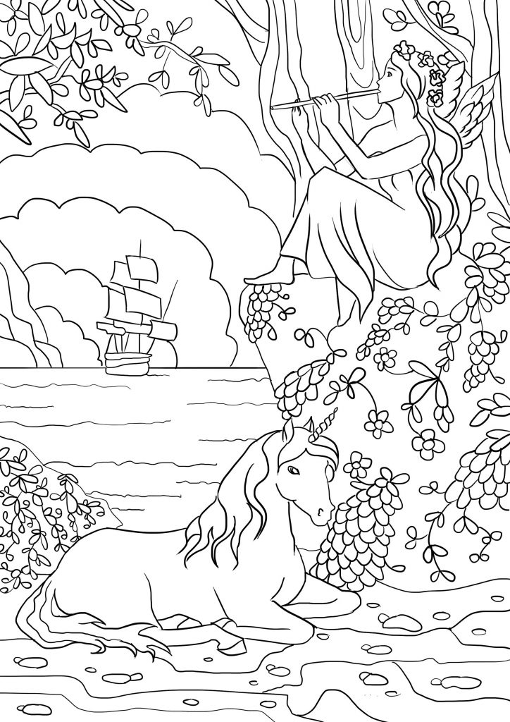 Fairy And Unicorn Coloring Pages Art