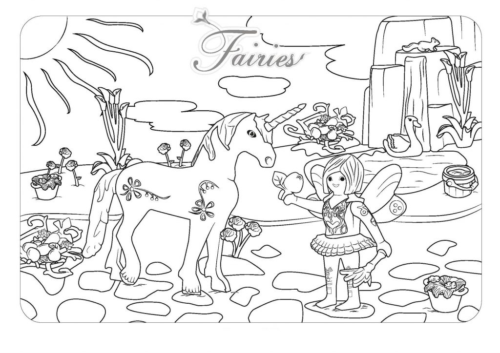 Fairy And Unicorn Coloring Pages Picture