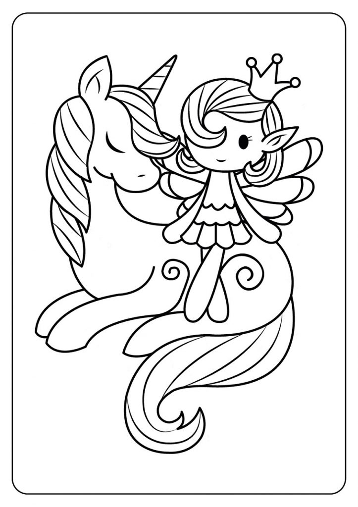 Fairy And Unicorn Coloring Pages for Kids