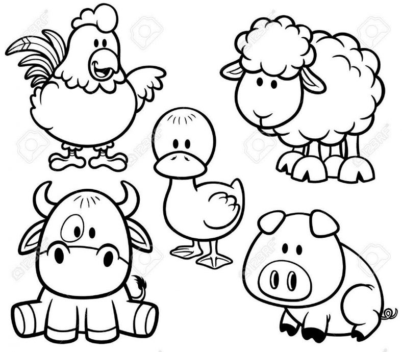 Farm Animal Coloring Pages Baby