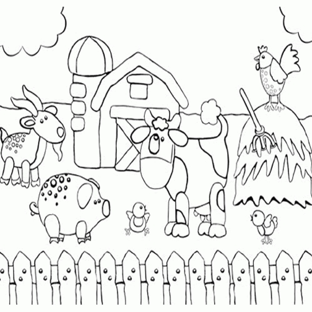 Farm Animal Coloring Pages Cute