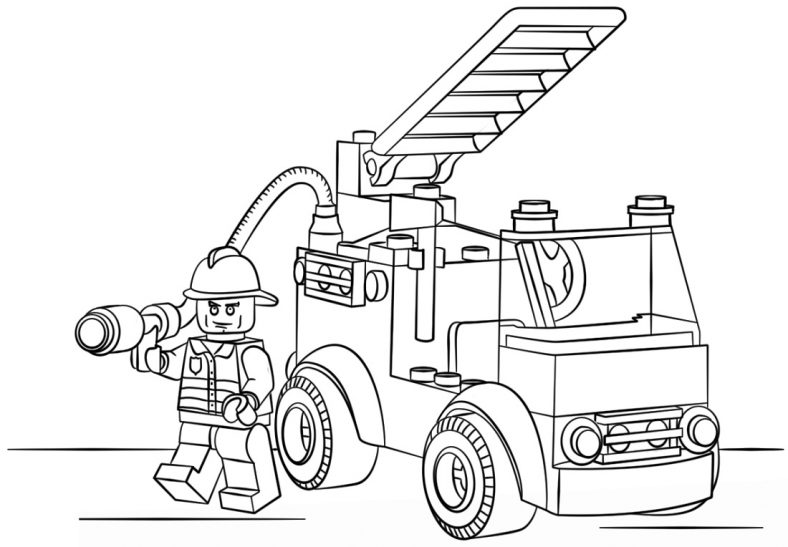 Fire Truck Coloring Page Lego