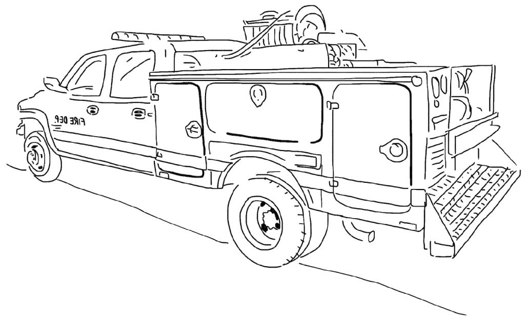 Fire Truck Coloring Page Transportation