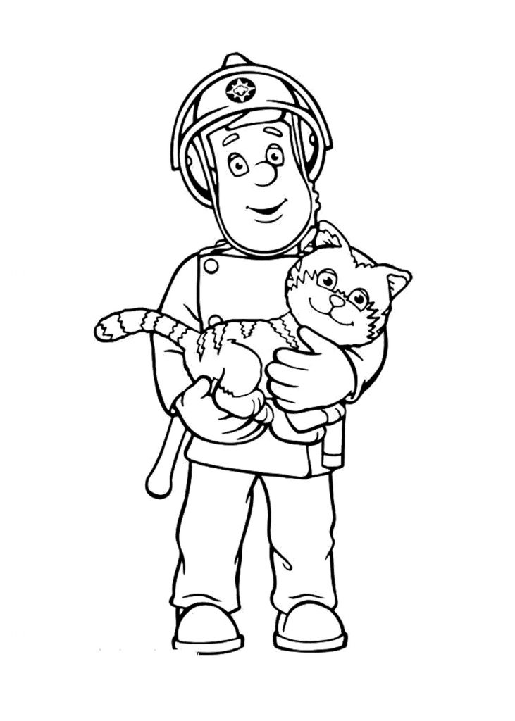 Fireman Coloring Pages Cartoon