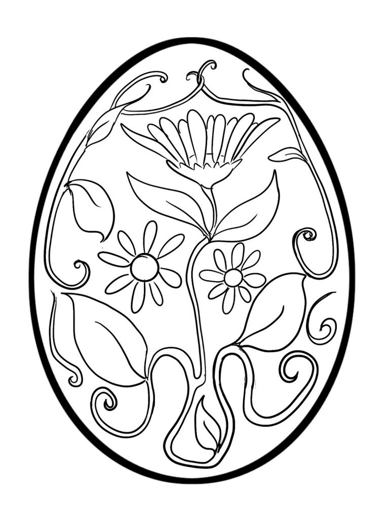 Floral Easter Egg Coloring Pages