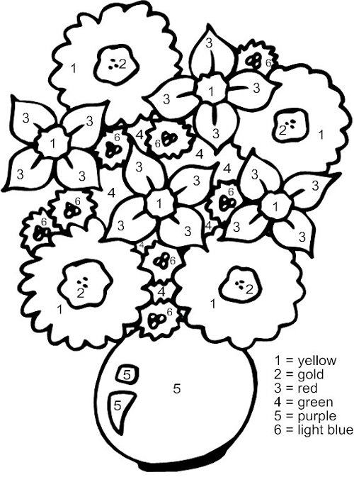 Flower Color By Number Free