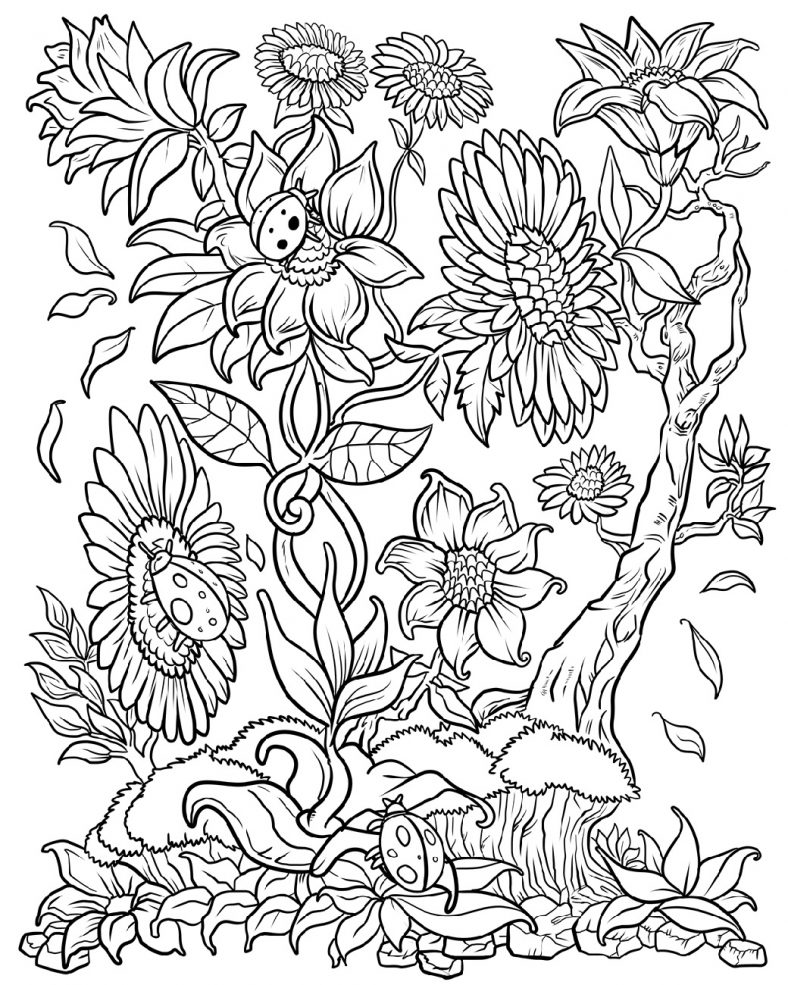 Flower Coloring For Adult