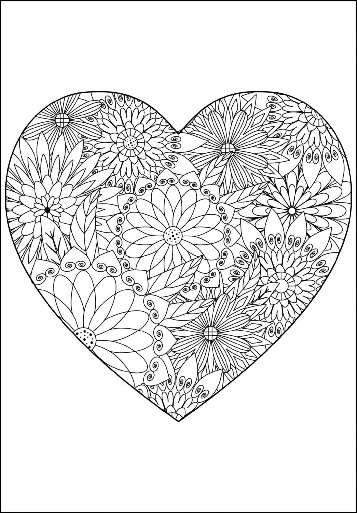 Flowery Heart Coloring Pages