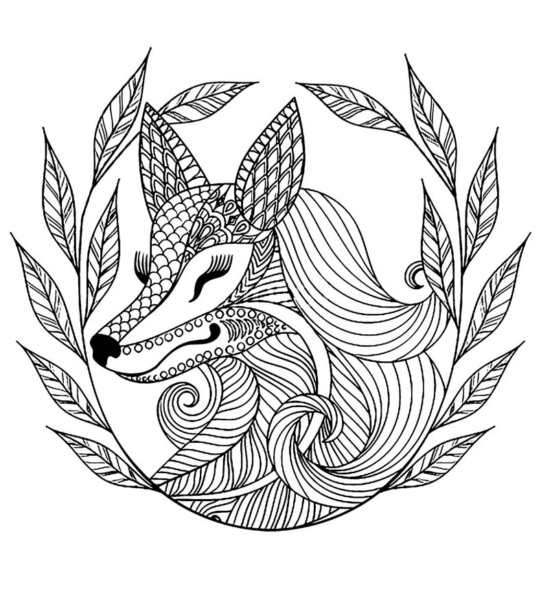 Fox Coloring Pages Mandala