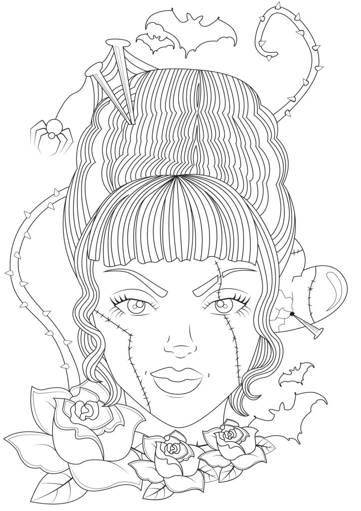 Frankenstein Coloring Pages Girl