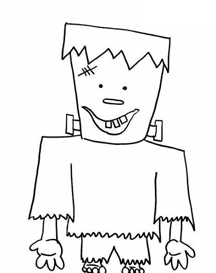 Frankenstein Coloring Pages Happy
