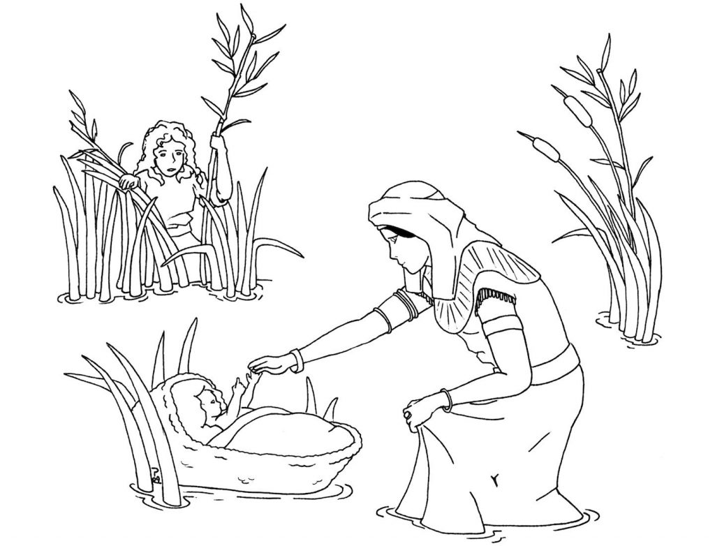 Free Printable Baby Moses Coloring Page