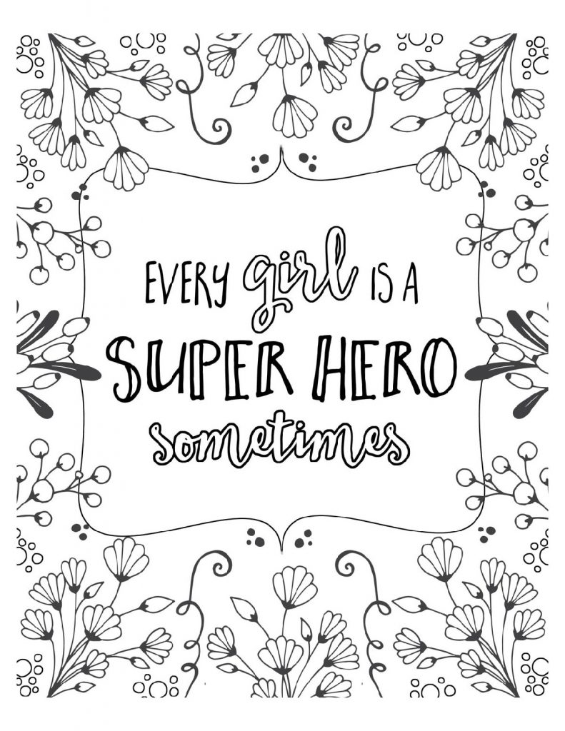Free Printable Coloring Pages For Girls Quotes
