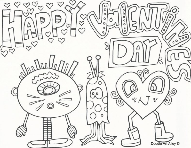 Free Valentine Coloring Pages Doodle