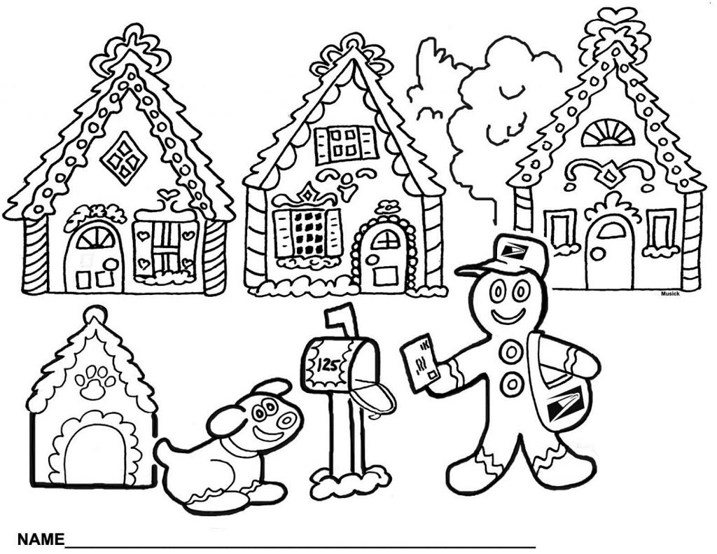 Gingerbread House Coloring Pages Christmas