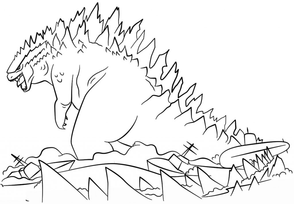 Godzilla Coloring Pages Cartoon