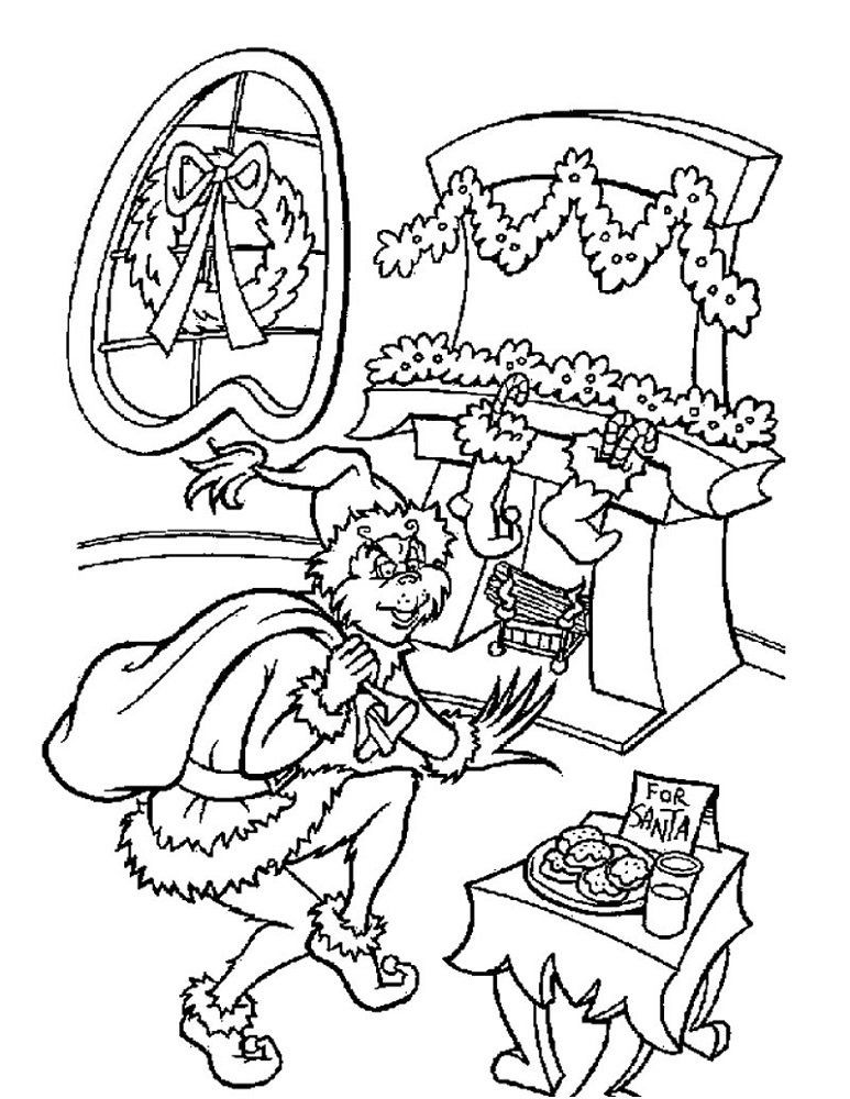 Grinch Coloring Page Stole Christmas