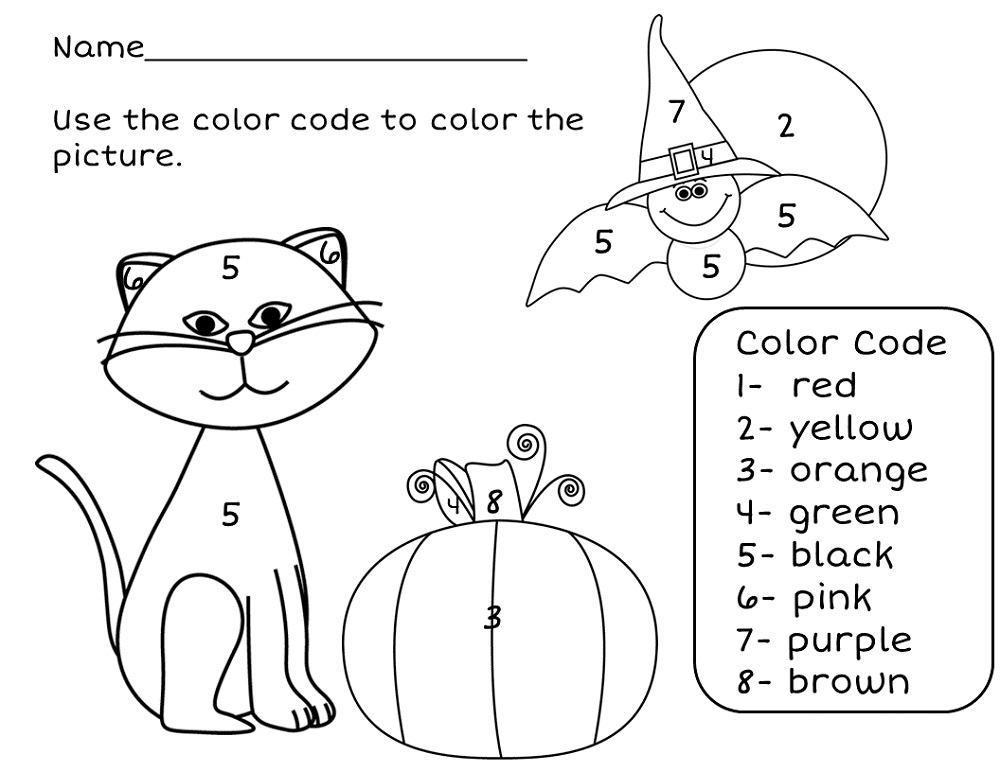 Halloween Color By Number Easy