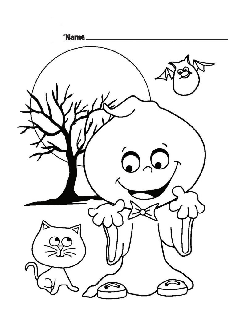 Halloween Coloring Pages For Toddlers Cute