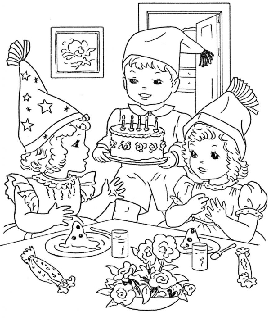 Happy Birthday Coloring Pages Party