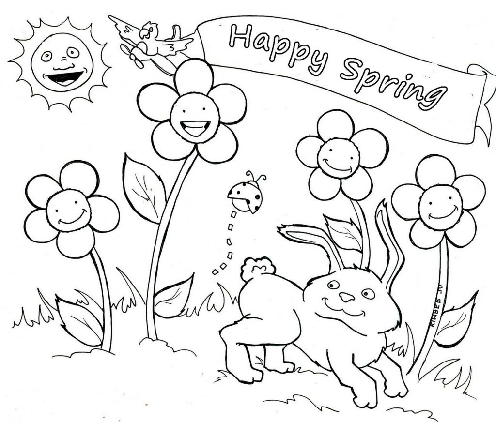 Happy Spring Coloring Sheets