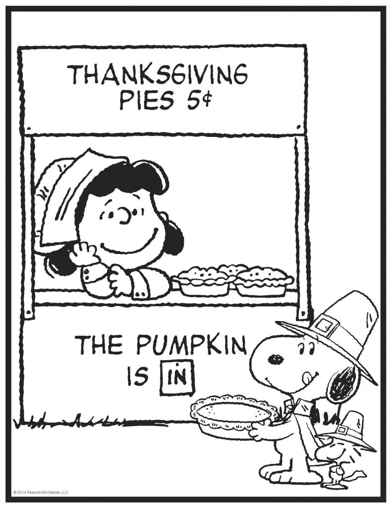 Happy Thanksgiving Coloring Pages Snoopy