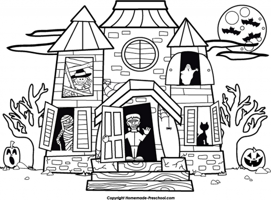Haunted House Coloring Pages Ghost