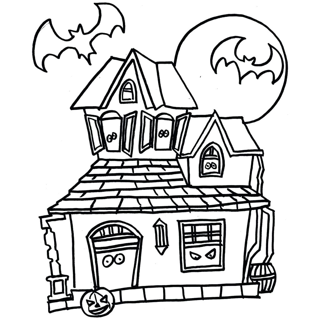 Haunted House Coloring Pages Halloween