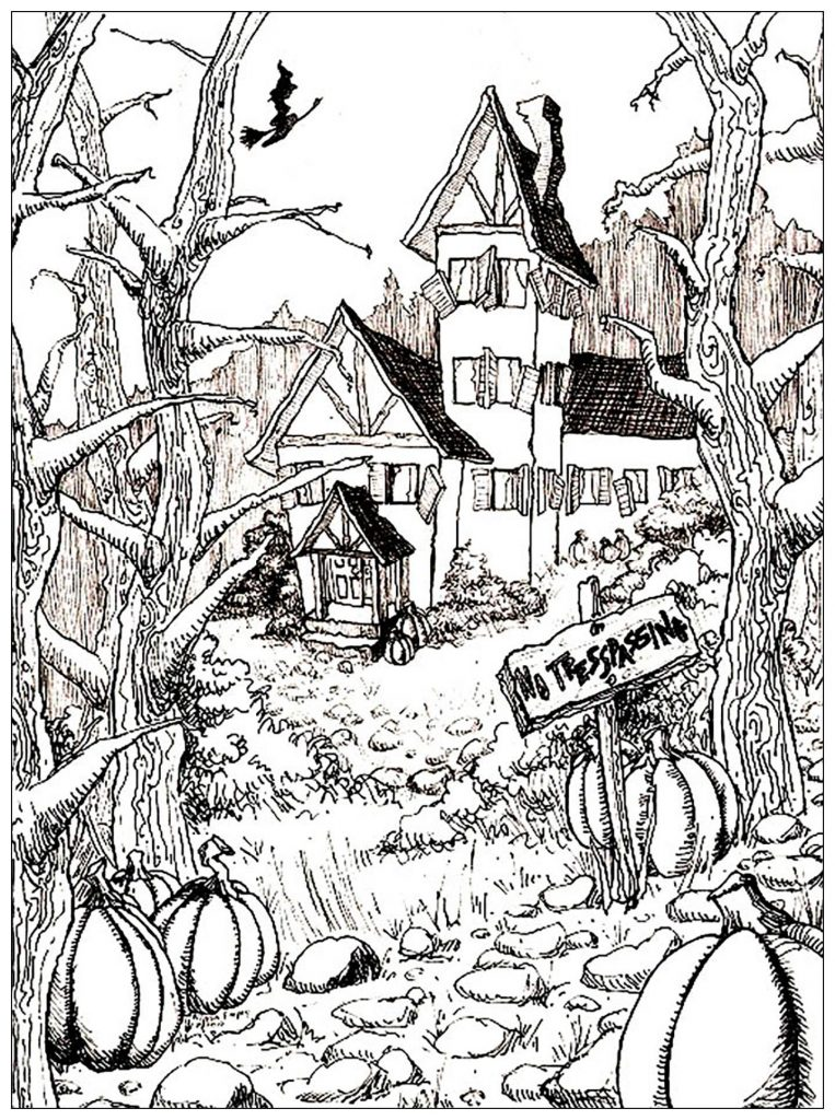 Haunted House Coloring Pages Spooky