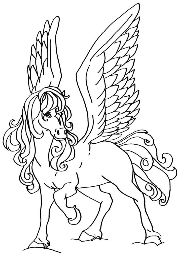 Horse Coloring Pages With Wings